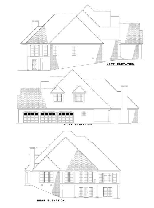 House Plan 62232 with 5 Beds, 5 Baths, 3 Car Garage Rear Elevation