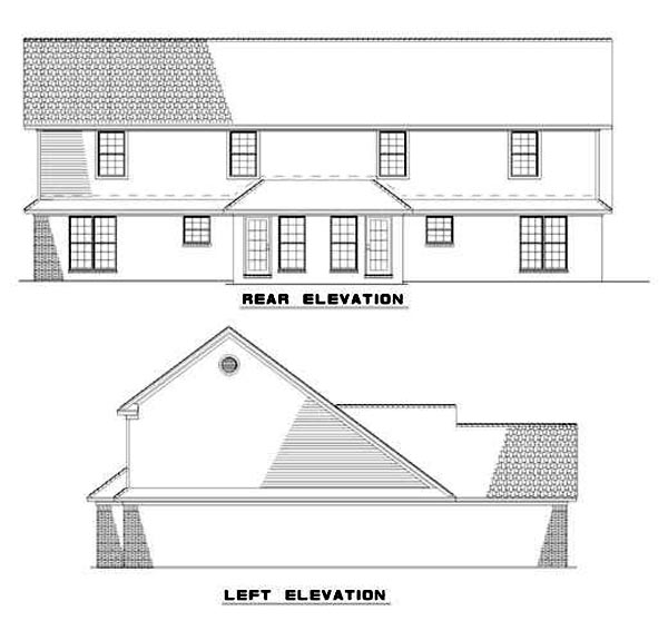 Rear Elevation of Plan 62236