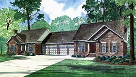 Multi-Family Plan 62237 with 6 Beds, 4 Baths, 4 Car Garage Elevation