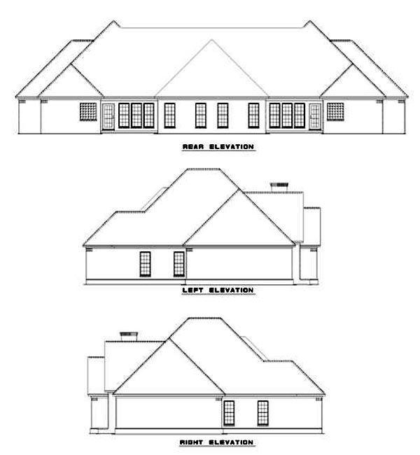 One-Story Multi-Family Plan 62238 with 6 Beds, 4 Baths, 4 Car Garage Rear Elevation