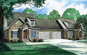 Multi-Family Plan 62239 with 6 Beds, 6 Baths, 4 Car Garage Elevation