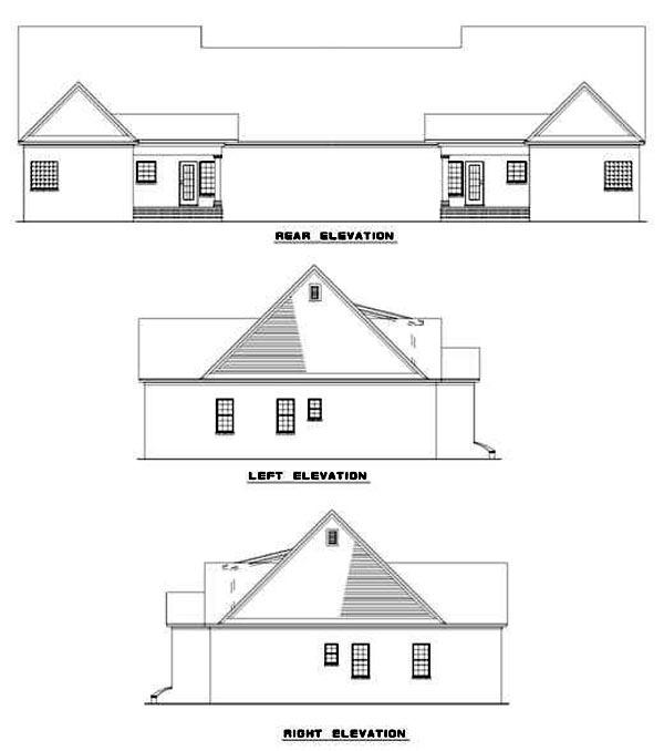 Multi-Family Plan 62239 Rear Elevation