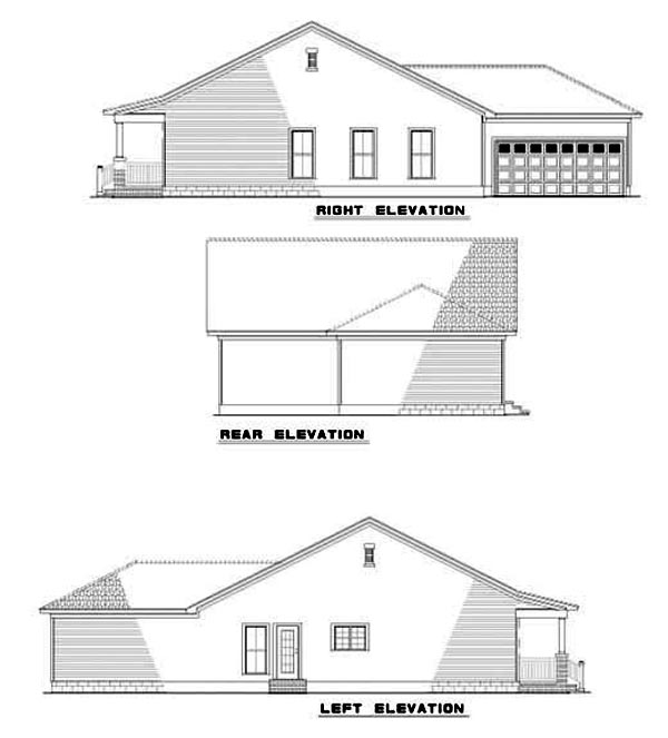 Narrow Lot One-Story Rear Elevation of Plan 62240