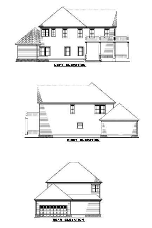 Narrow Lot Rear Elevation of Plan 62244