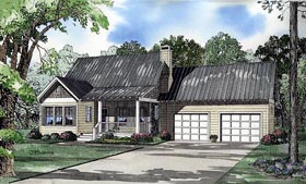 House Plan 62245 | Style House Plan with 1294 Sq Ft, 2 Bed, 2 Bath, 2 Car Garage Elevation