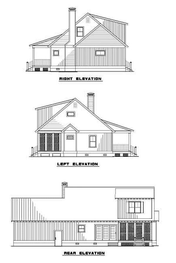 Rear Elevation of Plan 62246