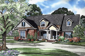 Traditional , Craftsman House Plan 62249 with 5 Beds, 4 Baths, 2 Car Garage Elevation