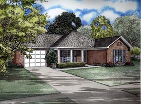 House Plan 62251 with 3 Beds, 2 Baths, 1 Car Garage Elevation