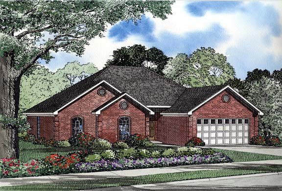 One-Story House Plan 62252 with 4 Beds, 2 Baths, 2 Car Garage Elevation