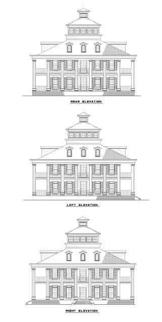 House Plan 62256 with 3 Beds, 4 Baths Rear Elevation