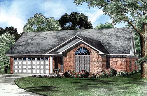 One-Story House Plan 62259 with 3 Beds, 2 Baths, 2 Car Garage Elevation