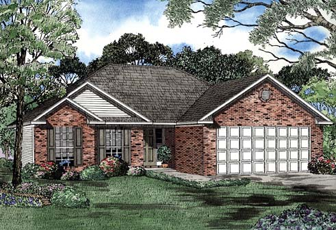 One-Story House Plan 62264 with 2 Beds, 2 Baths, 2 Car Garage Elevation