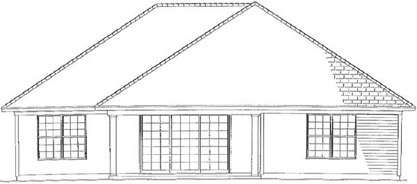 One-Story House Plan 62264 with 2 Beds, 2 Baths, 2 Car Garage Rear Elevation