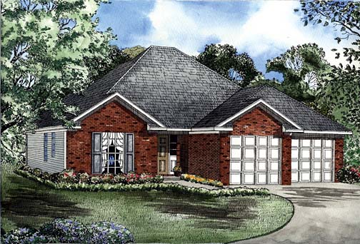 House Plan 62268 with 3 Beds, 2 Baths, 2 Car Garage Elevation