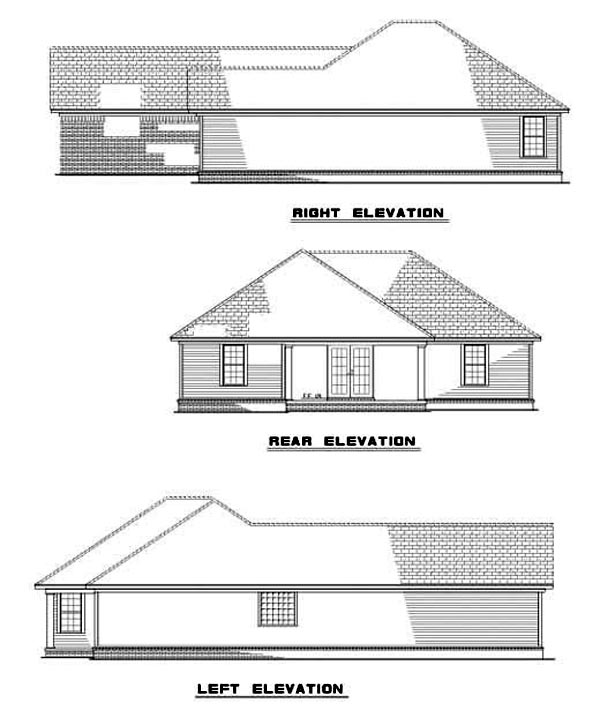 One-Story House Plan 62270 with 2 Beds, 2 Baths, 2 Car Garage Rear Elevation