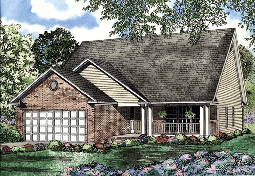One-Story House Plan 62271 with 2 Beds, 2 Baths, 2 Car Garage Elevation