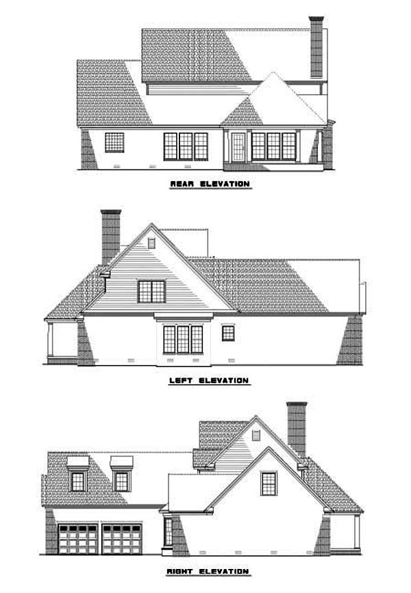 House Plan 62275 with 4 Beds, 3 Baths, 2 Car Garage Rear Elevation