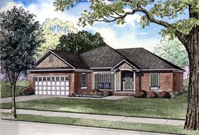 House Plan 62277 | Style Plan with 1560 Sq Ft, 3 Bedrooms, 2 Bathrooms, 2 Car Garage Elevation