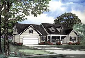 House Plan 62278 with 3 Beds, 2 Baths, 2 Car Garage Elevation