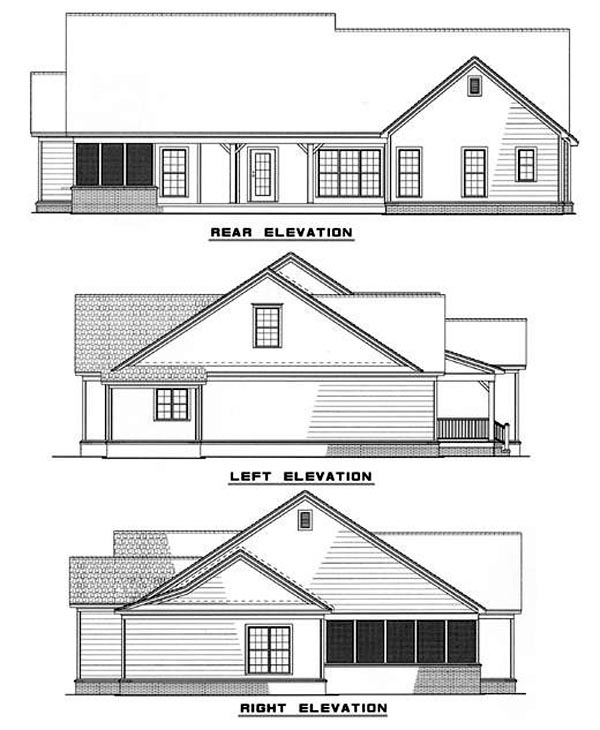 House Plan 62278 Rear Elevation