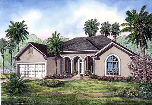 One-Story House Plan 62282 with 4 Beds, 2 Baths, 2 Car Garage Elevation