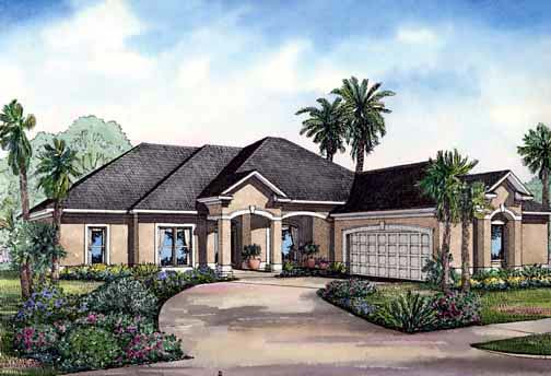 One-Story House Plan 62283 with 4 Beds, 3 Baths, 2 Car Garage Elevation