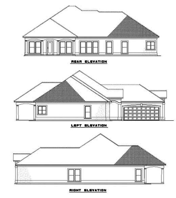 One-Story House Plan 62283 with 4 Beds, 3 Baths, 2 Car Garage Rear Elevation