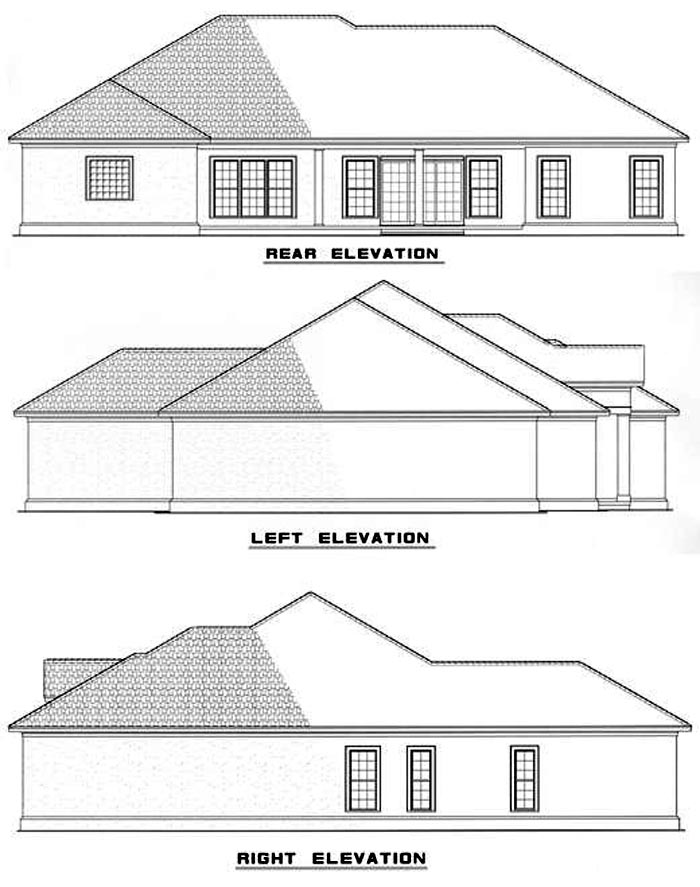One-Story House Plan 62286 with 4 Beds, 3 Baths, 2 Car Garage Rear Elevation