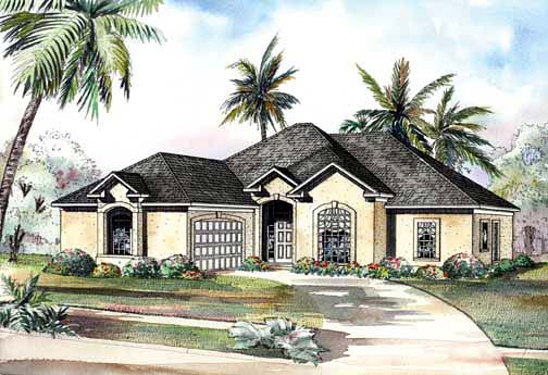 One-Story House Plan 62288 with 3 Beds, 2 Baths, 2 Car Garage Elevation