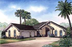 House Plan 62289 | Style Plan with 3167 Sq Ft, 4 Bedrooms, 4 Bathrooms, 3 Car Garage Elevation
