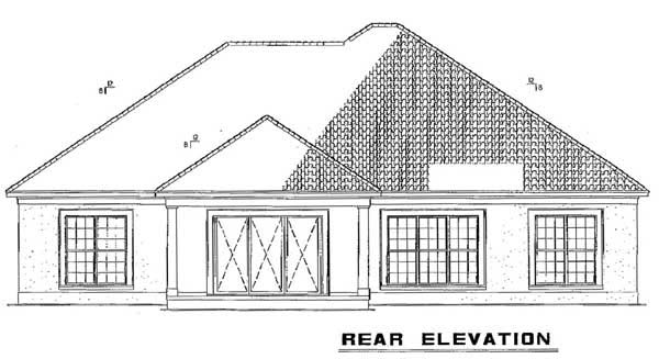 One-Story Rear Elevation of Plan 62289