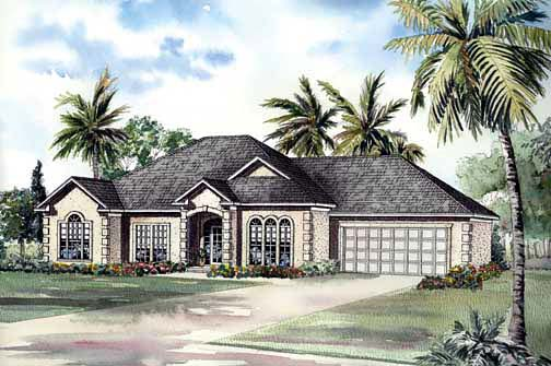 European, Ranch, Southwest House Plan 62292 with 3 Beds, 2 Baths, 2 Car Garage Elevation