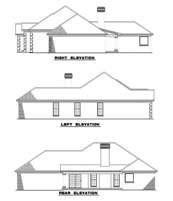 European, Ranch, Southwest House Plan 62292 with 3 Beds, 2 Baths, 2 Car Garage Rear Elevation