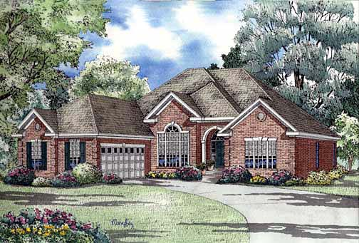 One-Story House Plan 62293 with 4 Beds, 2 Baths, 2 Car Garage Elevation
