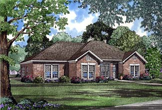 One-Story House Plan 62296 with 4 Beds, 2 Baths, 2 Car Garage Elevation