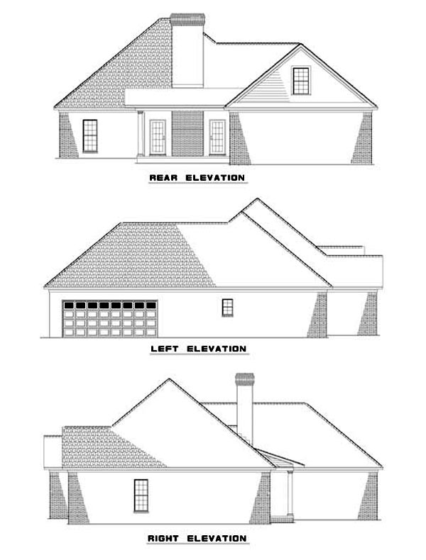 One-Story House Plan 62296 with 4 Beds, 2 Baths, 2 Car Garage Rear Elevation