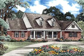 House Plan 62297 | Style Plan with 3419 Sq Ft, 5 Bedrooms, 5 Bathrooms, 3 Car Garage Elevation
