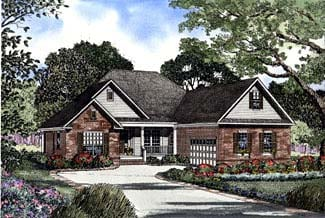 One-Story House Plan 62298 with 3 Beds, 2 Baths, 2 Car Garage Elevation