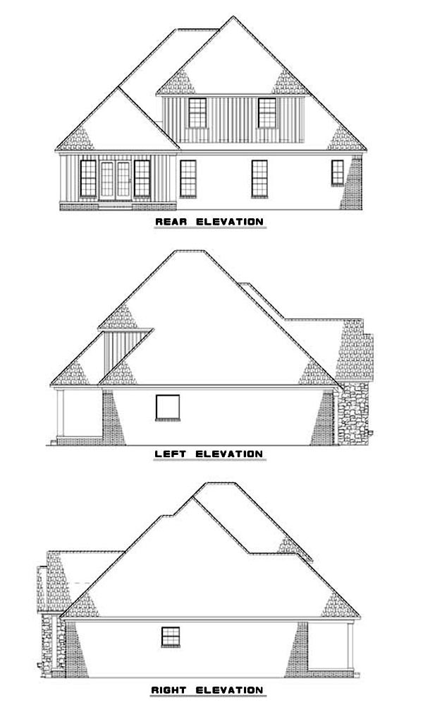 House Plan 62300 with 4 Beds, 3 Baths, 2 Car Garage Rear Elevation
