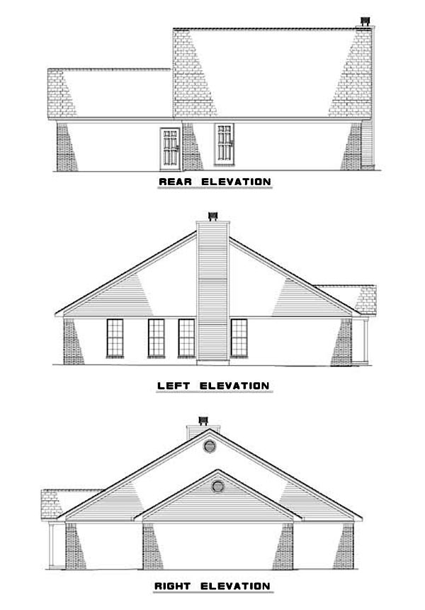 Rear Elevation of Plan 62301