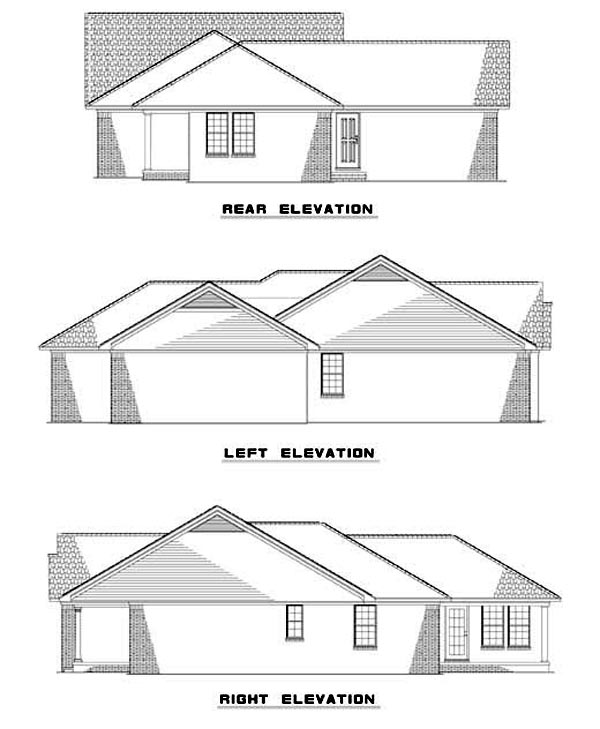 House Plan 62302 Rear Elevation