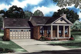House Plan 62303 | Style Plan with 1169 Sq Ft, 2 Bedrooms, 2 Bathrooms, 2 Car Garage Elevation