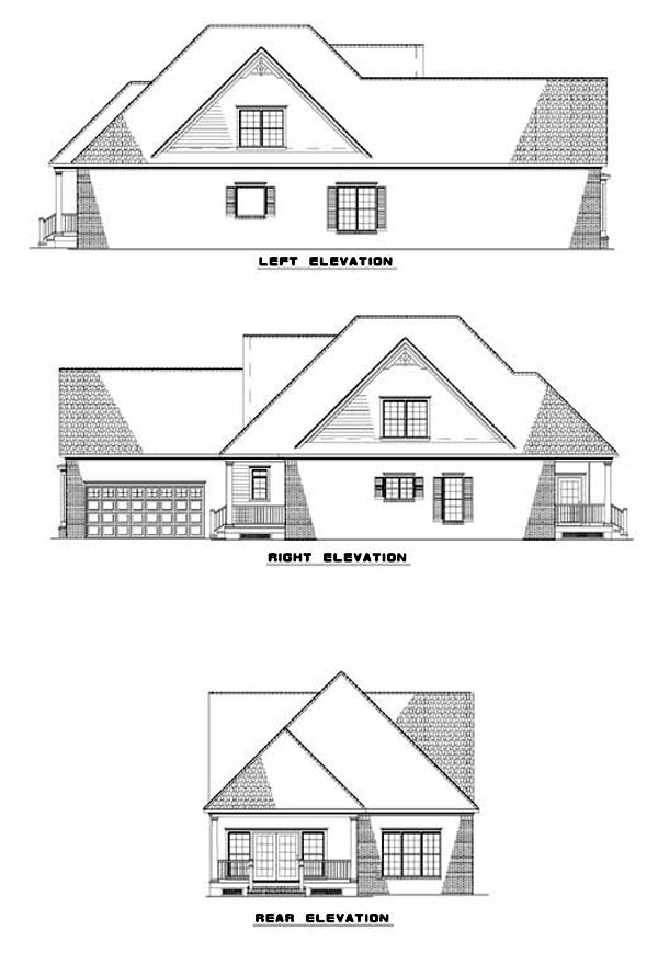 House Plan 62305 with 3 Beds, 3 Baths, 2 Car Garage Rear Elevation