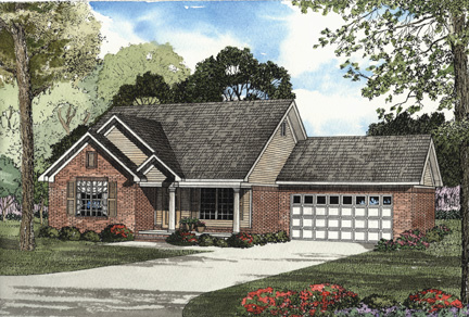 One-Story House Plan 62308 with 3 Beds, 2 Baths, 2 Car Garage Front Elevation