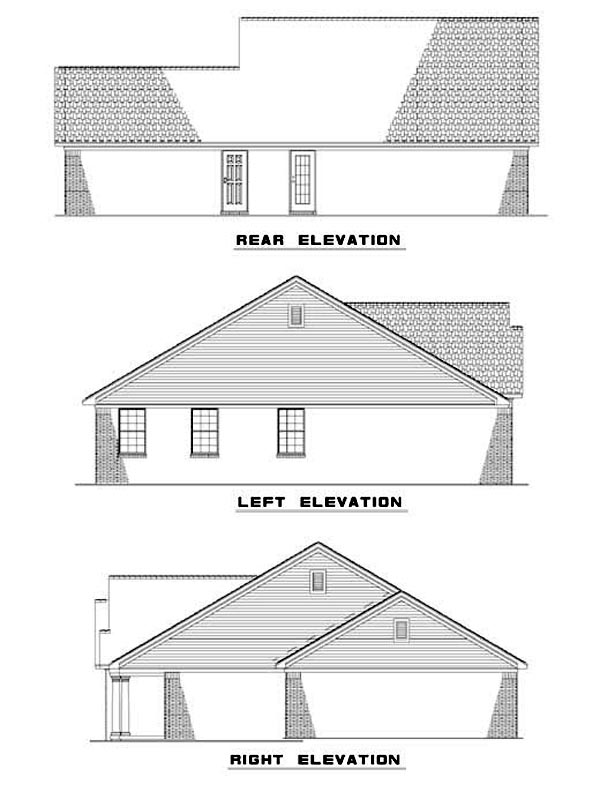 Rear Elevation of Plan 62308