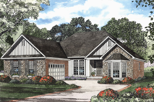 One-Story House Plan 62310 with 3 Beds, 2 Baths, 2 Car Garage Elevation