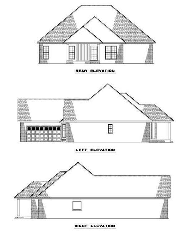 One-Story House Plan 62310 with 3 Beds, 2 Baths, 2 Car Garage Rear Elevation
