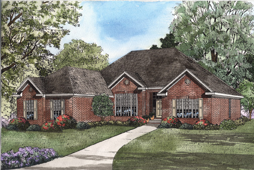 One-Story House Plan 62315 with 4 Beds, 2 Baths, 2 Car Garage Elevation