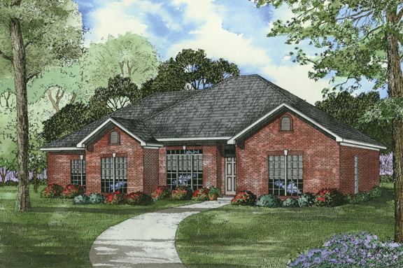 One-Story House Plan 62316 with 4 Beds, 2 Baths, 2 Car Garage Elevation