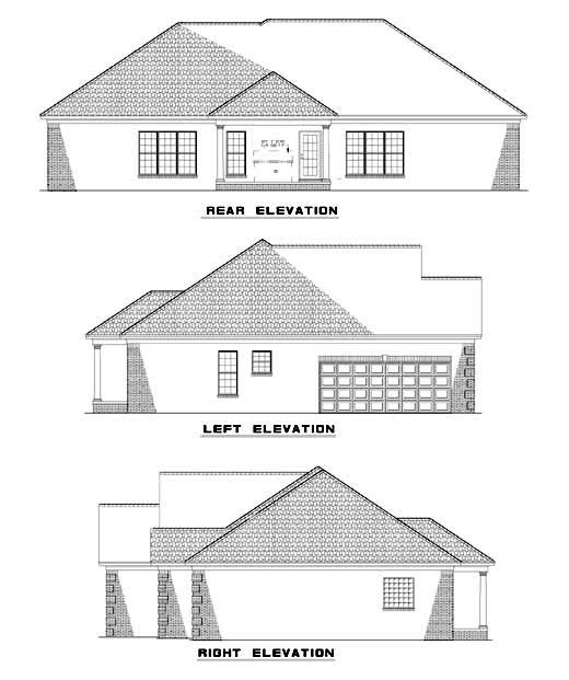 One-Story House Plan 62316 with 4 Beds, 2 Baths, 2 Car Garage Rear Elevation